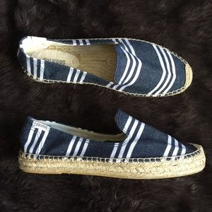 Soludos Candy Stripe Espadrilles Blue White 10